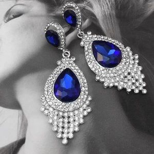 Blue Faceted Crystal Chandelier Event Earrings